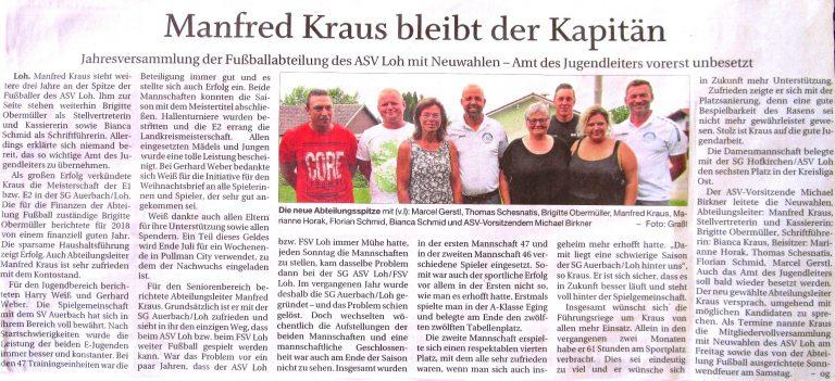 Zeitungsbericht zur 37. Abtversammlung Fußball mit Neuwahlen