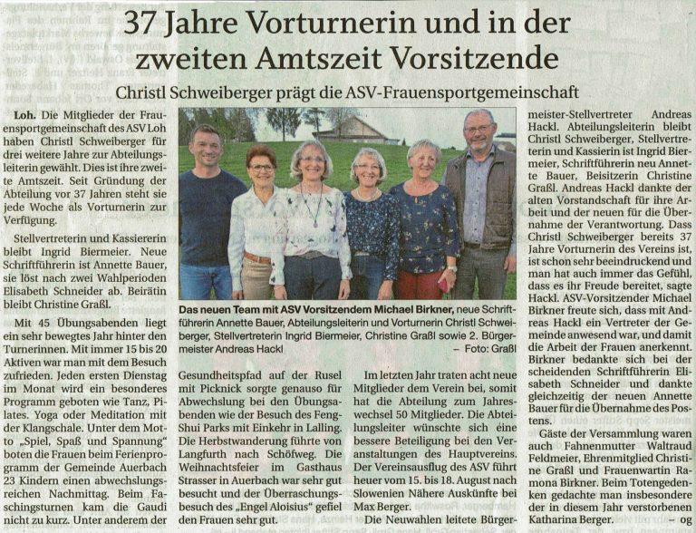 Zeitungsbericht zur 37. Abtversammlung Frauensport mit Neuwahlen